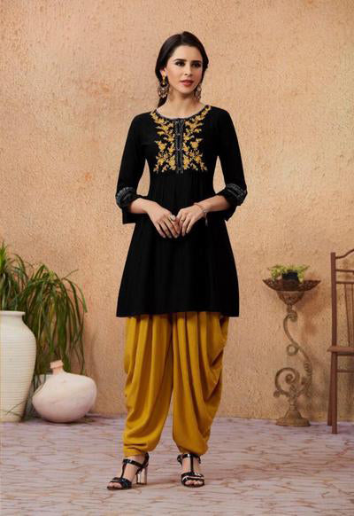 Black Color Rayon Embroidered Kurti with Patiala