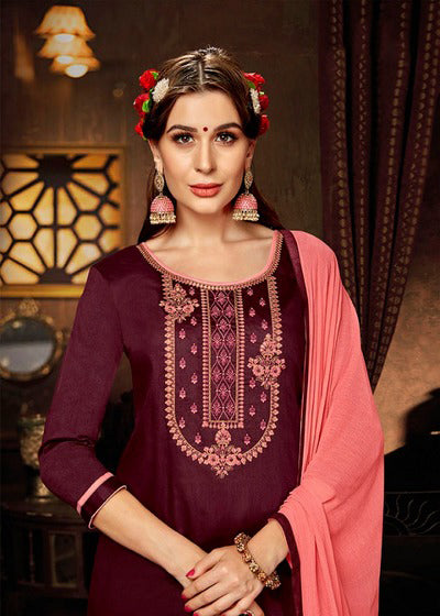 Maroon Color Jam Silk Cotton Kurti with Skirt and Dupatta