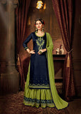 Navy Blue Color Jam Silk Cotton Kurti with Skirt and Dupatta