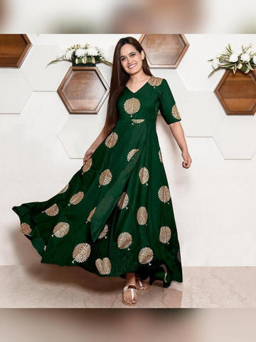 Heavy Rayon Block Printed Designer Gown