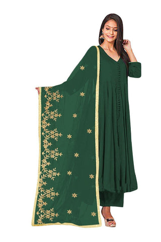 Designer and Beautiful Heavy Rayon Green Anarkali Suit