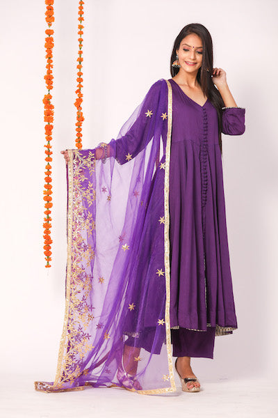 Designer and Beautiful Heavy Rayon Purple Anarkali Suit