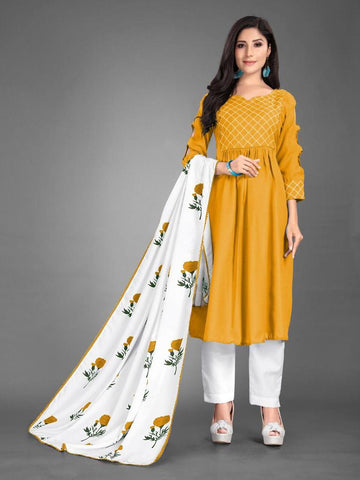 Designer and Beautiful Heavy Cotton Yellow Anarkali Suit