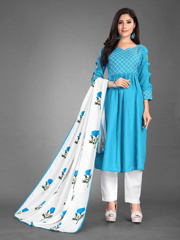 Designer and Beautiful Heavy Cotton Blue Anarkali Suit