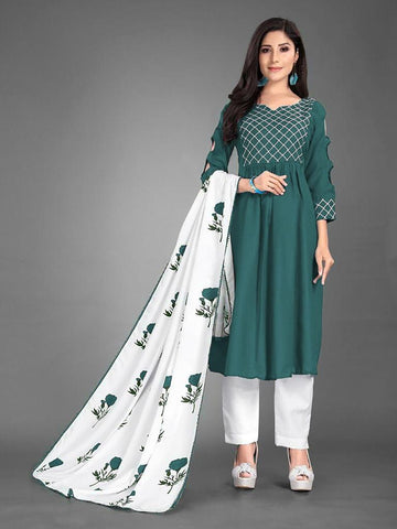 Designer and Beautiful Heavy Cotton Green Anarkali Suit