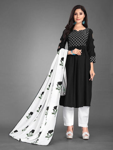 Designer and Beautiful Heavy Cotton Black Anarkali Suit