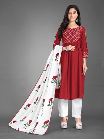 Designer and Beautiful Heavy Cotton Maroon Anarkali Suit