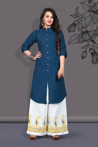 Navy Blue Color Slub Cotton Straight Cut Kurti with Palazzo