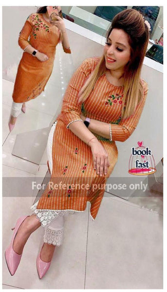 Designer Cotton Flex Printed Straight Cut Kurti with palazzo