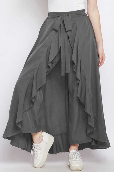 Beautiful Crepe Grey Color Palazzo Pant