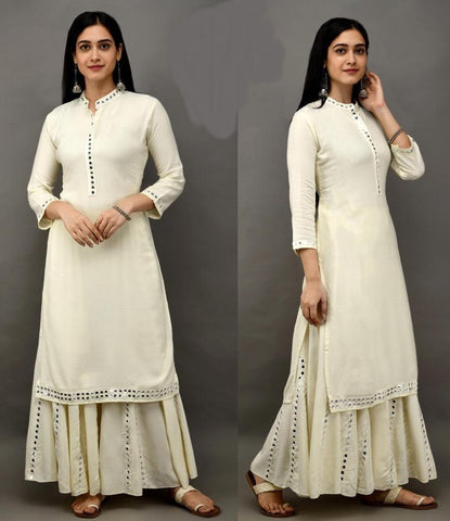 White Color Rayon Cotton Straight cut Kurti with Palazzo