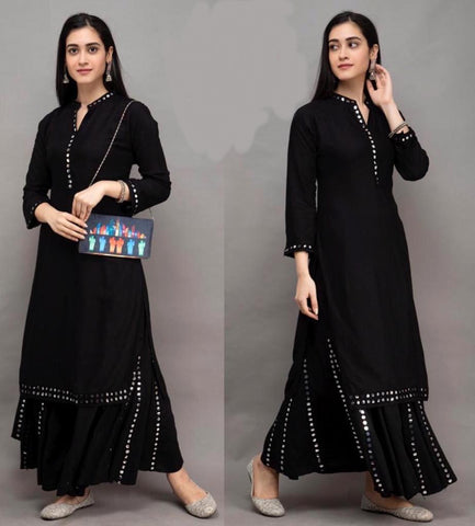 Black Color Rayon Cotton Straight cut Kurti with Palazzo