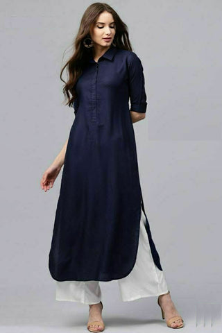 Navy Blue Color Rayon Straight Cut Kurti with Palazzo