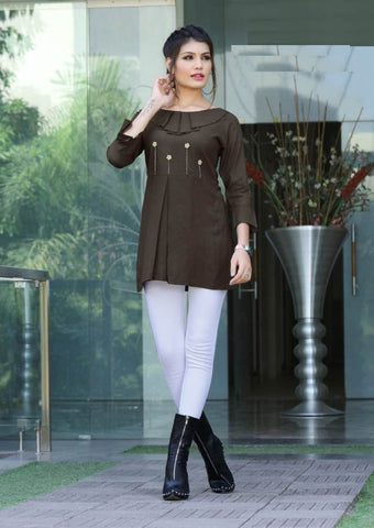 Beautiful Brown Color Katha Hand Worked Rayon Top