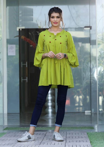 Beautiful Green Color Katha Hand Worked Rayon Top