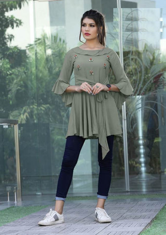 Beautiful Sage Green Color Katha Hand Worked Rayon Top