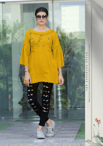 Beautiful Mustard Color Katha Hand Worked Rayon Top