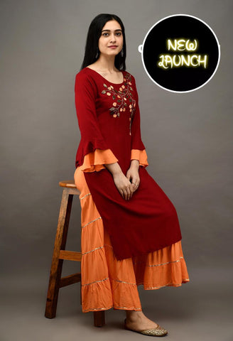 Maroon Color Heavy Rayon Embroidered Straight Cut Kurti with Sharara