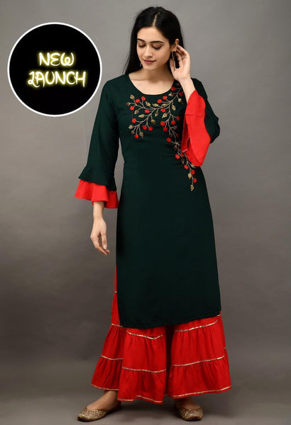 Green Color Heavy Rayon Embroidered Straight Cut Kurti with Sharara