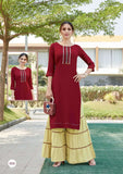 Maroon Color Rayon Straight Cut Kurti with Sharara