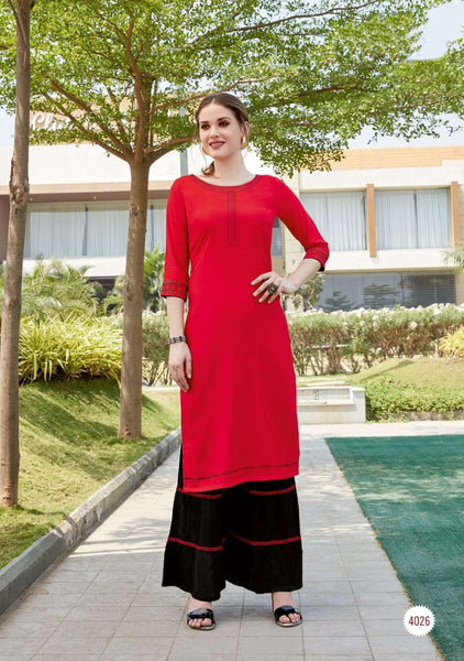 Red Color Rayon Straight Cut Kurti with Sharara