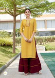 Mustard Color Rayon Straight Cut Kurti with Sharara