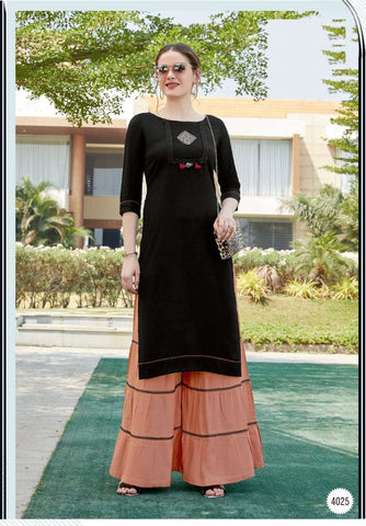 Black Color Rayon Straight Cut Kurti with Sharara
