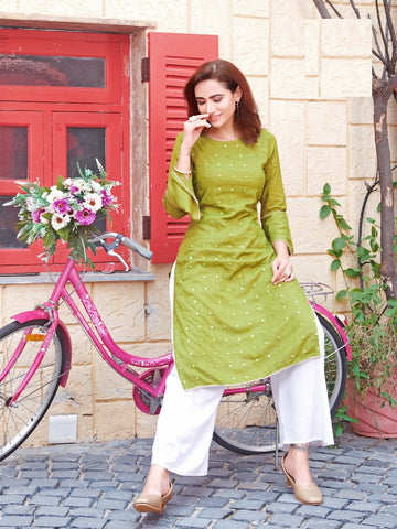 Green Rayon Mirror Worked Straight Cut Kurti with Palazzo
