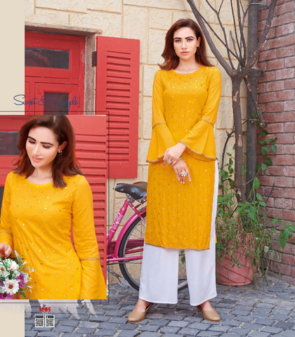 Mustard Rayon Mirror Worked Straight Cut Kurti with Palazzo