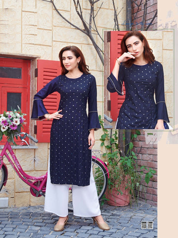 Navy Blue Rayon Mirror Worked Straight Cut Kurti with Palazzo