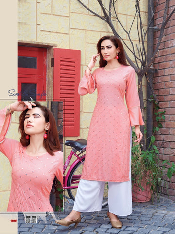 Peach Rayon Mirror Worked Straight Cut Kurti with Palazzo