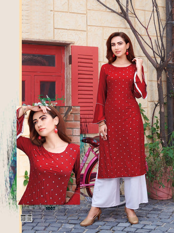 Maroon Rayon Mirror Worked Straight Cut Kurti with Palazzo