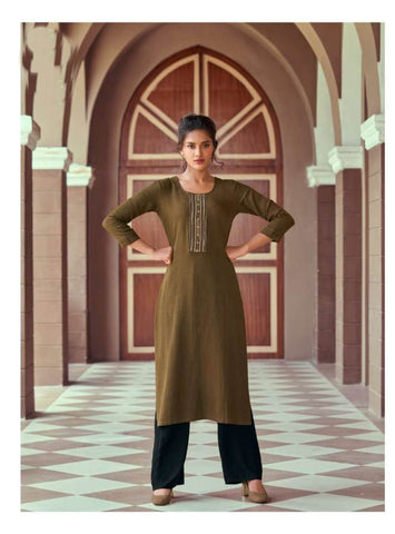 Cedar Brown Rayon Embroidered Kurti with Palazzo