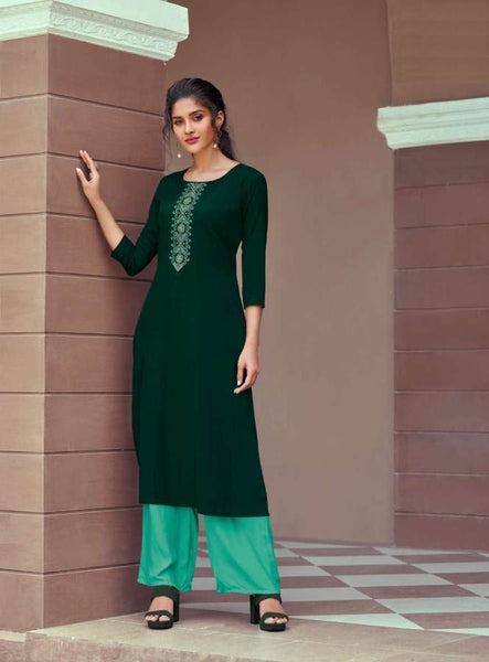 Green Rayon Embroidered Kurti with Palazzo