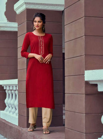 Maroon Rayon Embroidered Kurti with Palazzo