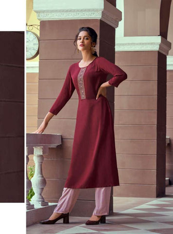 Mauve Rayon Embroidered Kurti with Palazzo