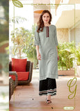 Designer Rayon Embroidered Straight Cut Kurti with Palazzo