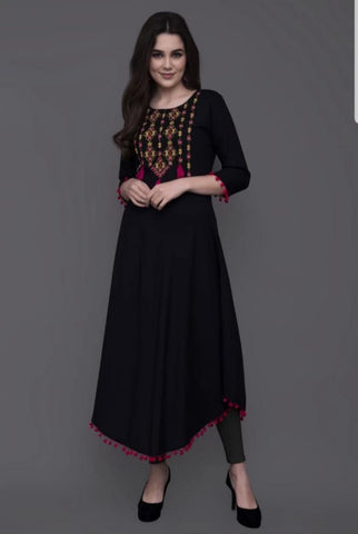 Designer Black Rayon Embroidered Anarkali Kurti