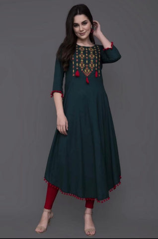 Designer Green Rayon Embroidered Anarkali Kurti