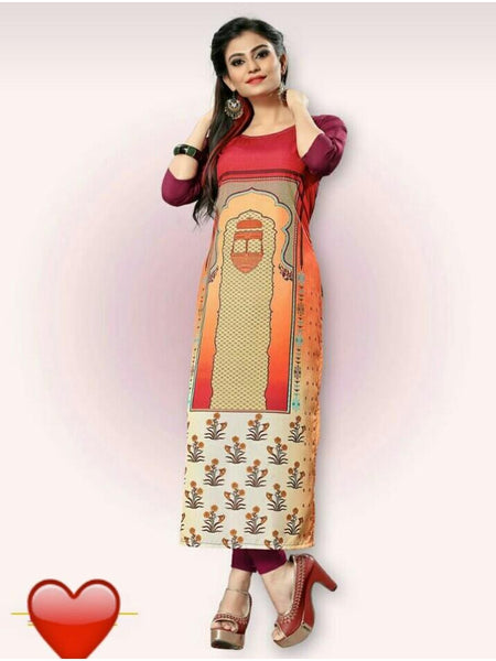 Beautiful Multi Color Straight Cut Kurti