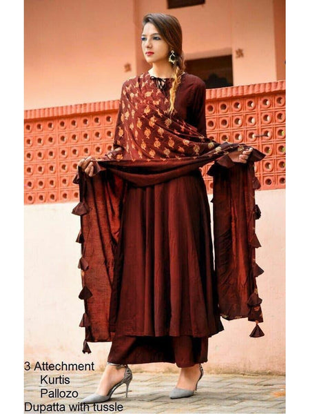 Designer and Beautiful Straight Cut Kurti and Wide Palazzo