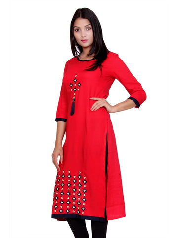 Latest Designer Red Color Front Embroidered Rayon Kurti