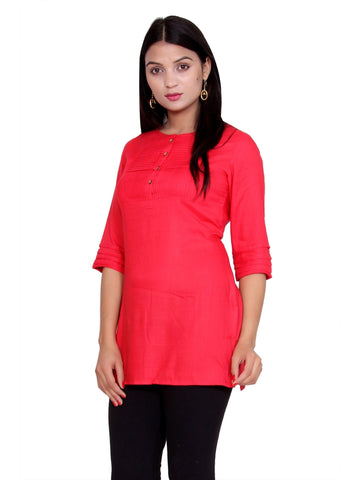 Latest Designer Red Color Rayon Short Kurti