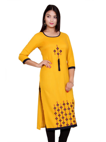 Latest Designer Yellow Color Front Embroidered Rayon Kurti