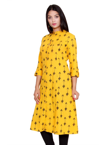 Latest Designer Yellow Color Cotton Kurti