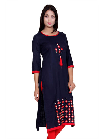 Latest Designer Blue Color Front Embroidered Rayon Kurti