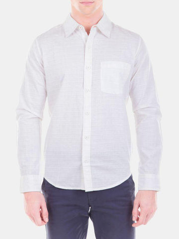 Cotton Linen Dobby Check White Formal Shirt