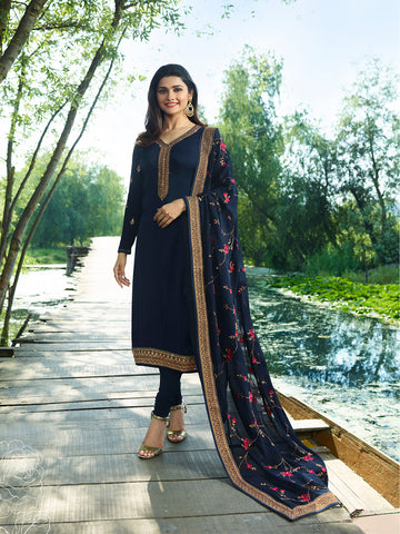 Designer Dark Blue Embroidered Long Satin Silk Straight Cut Suit With Heavy Dupatta