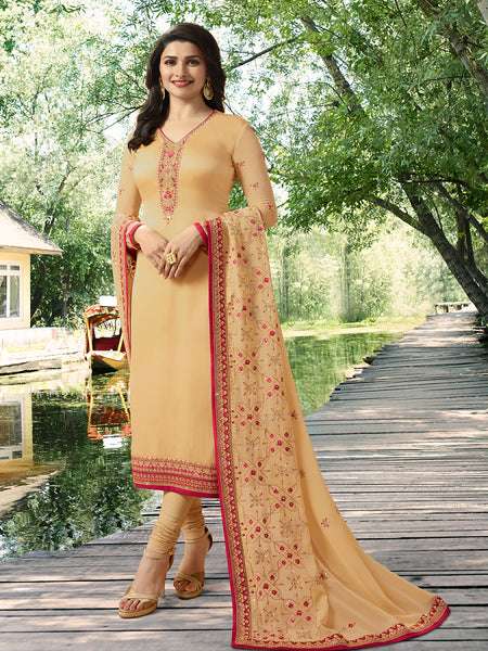 Designer Light Yellow Color Embroidered Long Satin Silk Straight Cut Suit With Heavy Dupatta