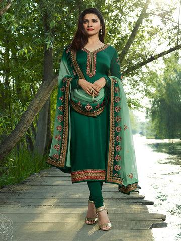 Designer Green Color Embroidered Long Satin Silk Straight Cut Suit With Heavy Dupatta